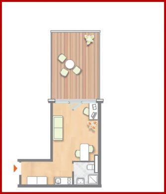 1-Zimmerapartment mit grosser Dachterrasse, voll möbliert inkl. Einbauküche im KfW-40 Effizienzhaus, 50354 Hürth, Penthousewohnung